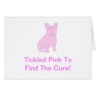 Dogo francés rosado tarjeta de felicitación