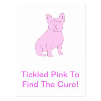 Dogo francés rosado tarjeta postal