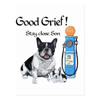Dogo francés y perrito - precios de la gasolina tarjetas postales