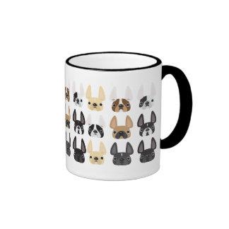 Dogo francés y taza de los amigos