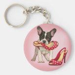 Dogo francés y zapato del lunar llavero personalizado