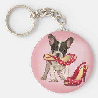 Dogo francés y zapato del lunar llavero redondo tipo pin