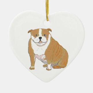 Dogo grande en los ornamentos y los productos adorno navideño de cerámica en forma de corazón