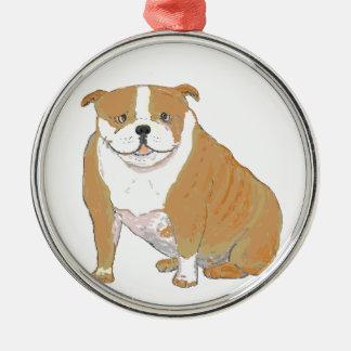 Dogo grande en los pegatinas y los ornamentos adorno navideño redondo de metal