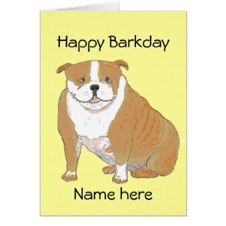 Dogo grande en productos múltiples tarjeta de felicitación