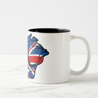 Dogo impresionante de Union Jack Taza De Café