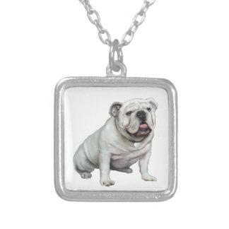 Dogo inglés - blanco 1 colgante cuadrado