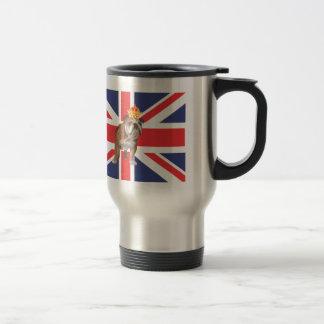 Dogo inglés con la corona y Union Jack Taza