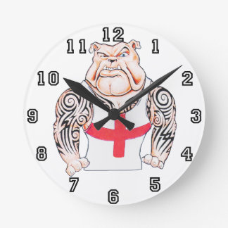 Dogo inglés con los tatuajes tribales relojes de pared