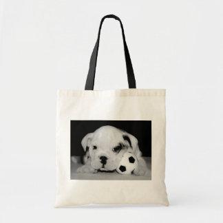 Dogo inglés del perrito del fútbol bolsa lienzo
