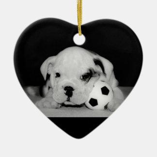 Dogo inglés del perrito del fútbol ornamentos de reyes magos