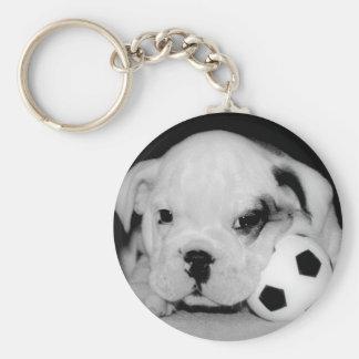 Dogo inglés del perrito del fútbol llavero personalizado
