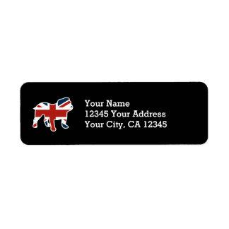 Dogo inglés en la bandera de Union Jack Etiquetas De Remite