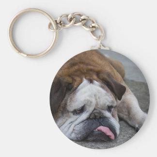 Dogo inglés llavero redondo tipo pin