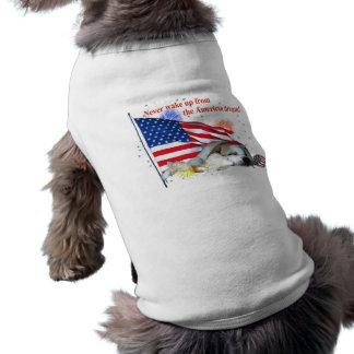 Dogo inglés - sueño americano playera sin mangas para perro