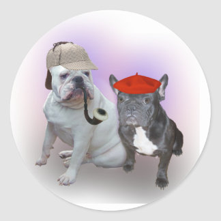Dogo inglés y dogo francés pegatina redonda