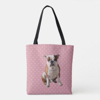 Dogo lindo con el fondo rosado de los lunares bolsa de tela