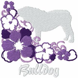 Dogo púrpura del inglés del hibisco sudadera bordada con serigrafía