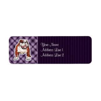 Dogo púrpura etiquetas de remite