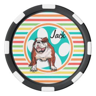 Dogo; Rayas brillantes del arco iris Juego De Fichas De Póquer