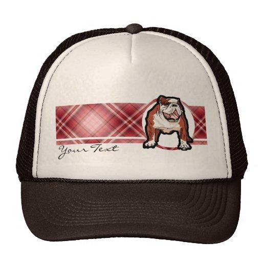 Dogo rojo de la tela escocesa gorras