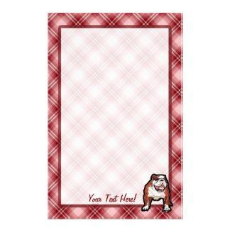 Dogo rojo de la tela escocesa  papeleria de diseño
