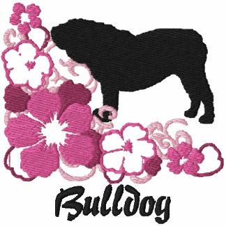 Dogo rosado del inglés del hibisco sudadera con capucha bordada