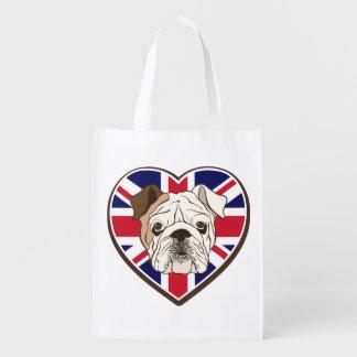 Dogo y la bolsa de asas ingleses de Union Jack Bolsas Para La Compra