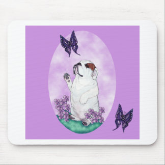 Dogo y mariposas ingleses mouse pad