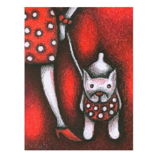 dogo y mujer tarjeta postal