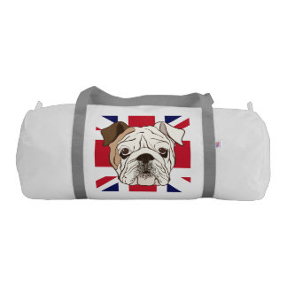 Dogo y petate ingleses de Union Jack Bolsa De Deporte