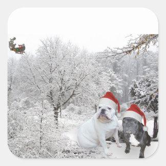 Dogos 1 del navidad pegatina cuadrada