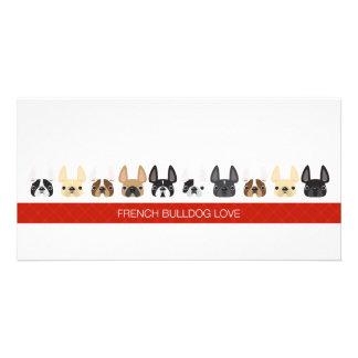 Dogos franceses animados lindos tarjetas con fotos personalizadas