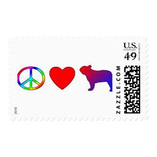 Dogos franceses del amor de la paz franqueo