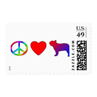 Dogos franceses del amor de la paz timbre postal