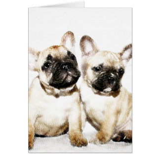 Dogos franceses tarjeta de felicitación