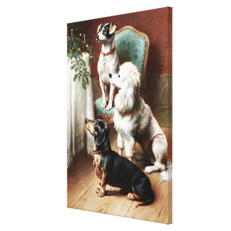 Dogs - A Christmas Treat, artwork by Carl Reichert Canvas Print