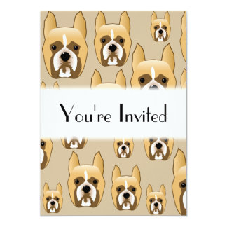 Dogs, A Pattern of Boxers on Beige. Card