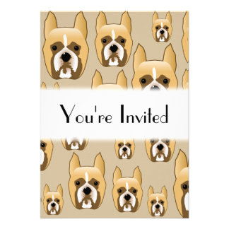 Dogs, A Pattern of Boxers on Beige. Custom Announcement