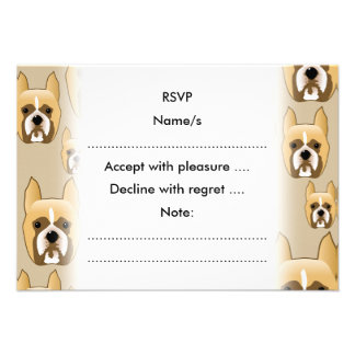 Dogs, A Pattern of Boxers on Beige. Custom Invite