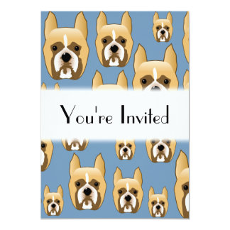 Dogs, A Pattern of Boxers on Blue. Card