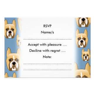 Dogs, A Pattern of Boxers on Blue. Personalized Invitation