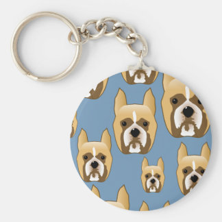 Dogs, A Pattern of Boxers on Blue. Keychain