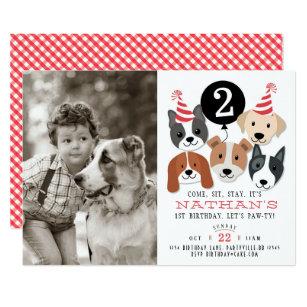 Dogs And Black Balloon Photo Birthday Invite