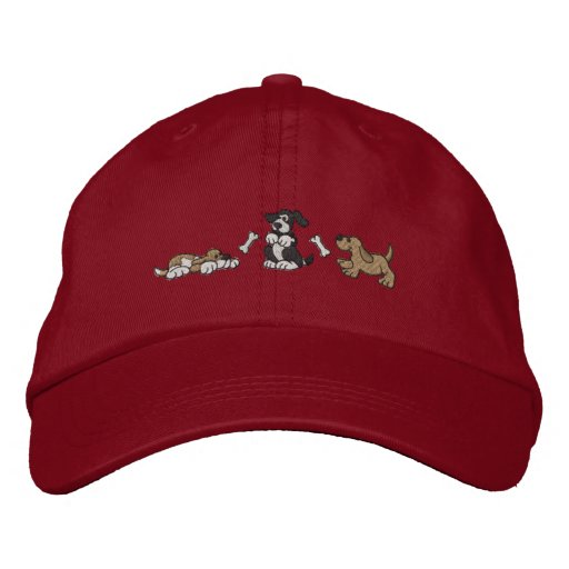 Dogs and Bones Embroidered Baseball Hat