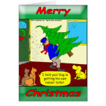 Dogs and cats are preparing for Christmas Greeting Card