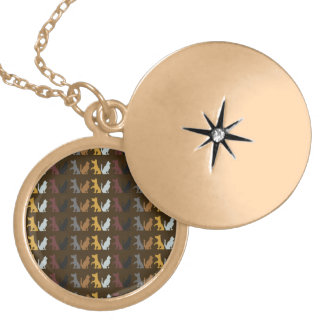Dogs and Cats Round Locket Necklace