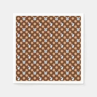 Dogs and Flowers Brown Paper Napkin
