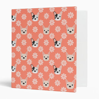 Dogs and Flowers Coral Vinyl Binder