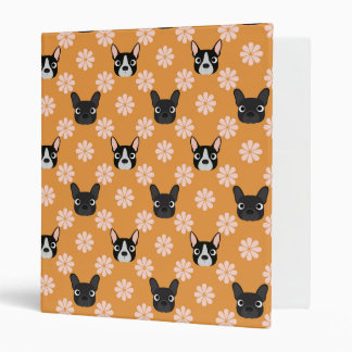 Dogs and Flowers Gold 3 Ring Binders